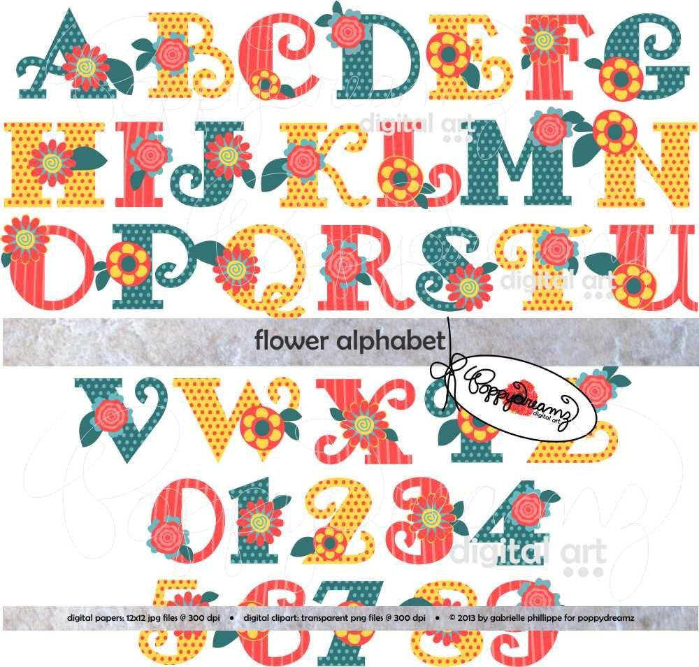 How to scrapbook letters - Flower Alphabet Clip Art Pack 300 Dpi Transparent Png Card Making Digital Scrapbook Letters Numbers Flower Clipart Colorful Alphabet