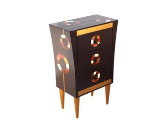 Handmade Wooden chest of drawers with Frame,  Hand painted Brown Gold White, Wood chest handmade, Christmas gift, Black Friday sale