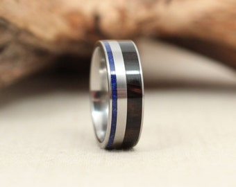 African Blackwood Wooden Ring and Lapis Lazuli Deconstructed Titanium Ring