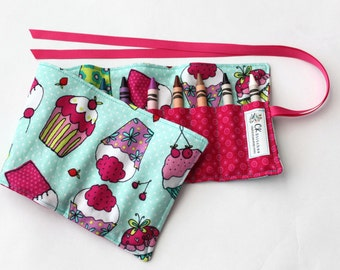 Children's Crayon Roll for Girls - with Ribbon or Velcro Closure (YOU PICK) - Teal and Pink Cupcakes