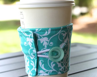 Reusable Coffee Cup Cozy / Sleeve - Teal and White Swirly Damask - Coffee Cuff by CK Stitches