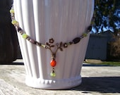 Boho Style, Earth Toned, Flower Pendant Necklace, Wedding, Gift, Summer