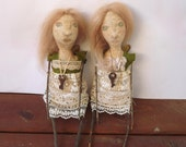 Rustic, Primitive Folk Art Doll, Mixed Media, Green Angel No. 2