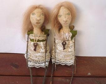 Primitive Art Doll, Mixed Media - Green Angel No. 2