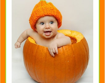 Pumpkin Hat ,Crochet Pumpkin Hat ,Baby Pumpkin Hat ,Fall Pumpkin Hat ,Thanksgiving Hat,Pumpkin Photo Prop ,Pumpkin Crochet Hat .Cbbcreations