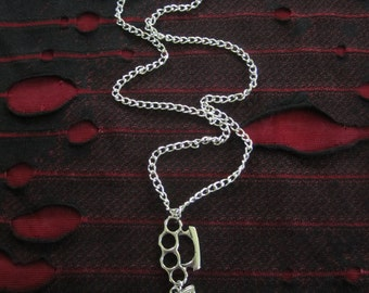 Brass Knuckles Pistol Chain Necklace