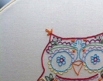 Calavera owl embroidery pattern