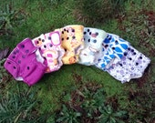 newborn set of 6 organic cotton fitted diapers various colors and prints