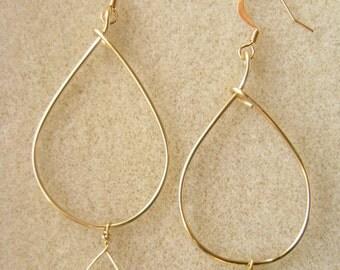 Oval Hoop and Fresh Water Pearl Earrings