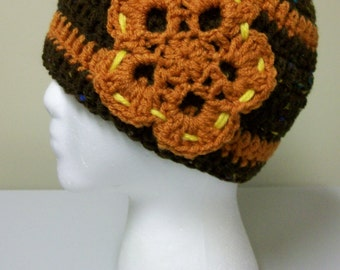 Brown Orange Flower Beanie Fall Toque Autumn Skullcap