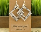 GEOMETRIC Earrings.  Recycled Soda Can Art.  DOUBLE-sided.  White/Silver Monster. Dangle & Drop Earrings. Hoop Earrings.