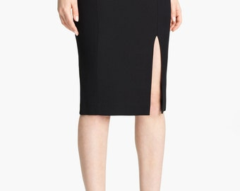 Classic  pencil skirt  with front slit, high quality ,tailor made, plus size