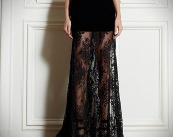 Floor length Crepe and lace high waist skirt, slightly Mermaid silhouette see through, pencil and Aline, high quality , High fashion