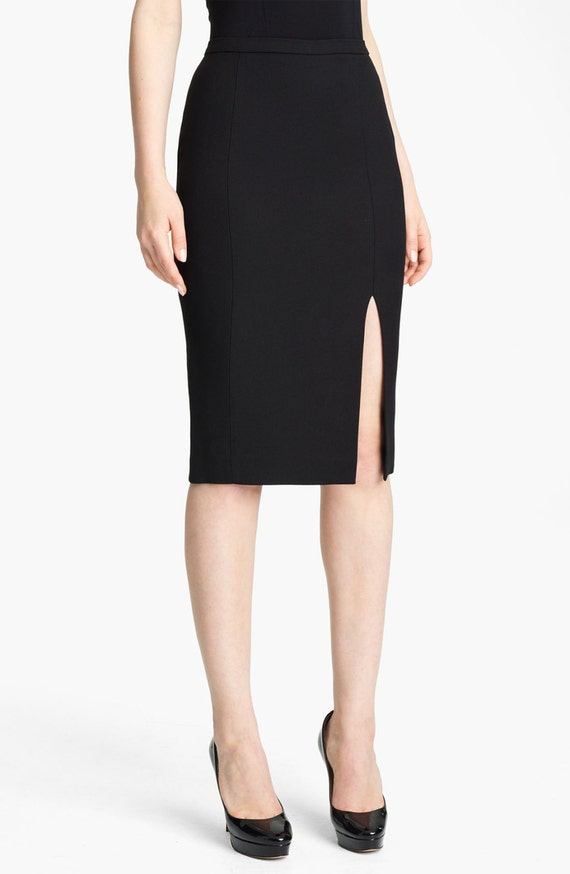 high slit black skirt classic pencil skirt with front slit high quality tailor 2009