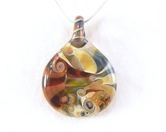 Jubilant Glass Lampwork Reversible Pendant   Flamecrafted Borosilicate On Sterling Silver    Free Shipping
