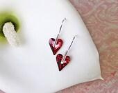 Wild Heart Earrings in Sterling Silver, Indian Pink Heart Earrings, Valentine Jewelry, Fine Jewelry