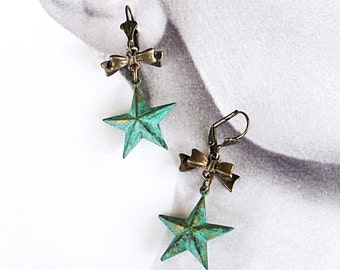 Mint Green Star Victorian Earrings, Verdigris Art Deco Earrings,  Victorian Jewelry, Art Deco Jewelry