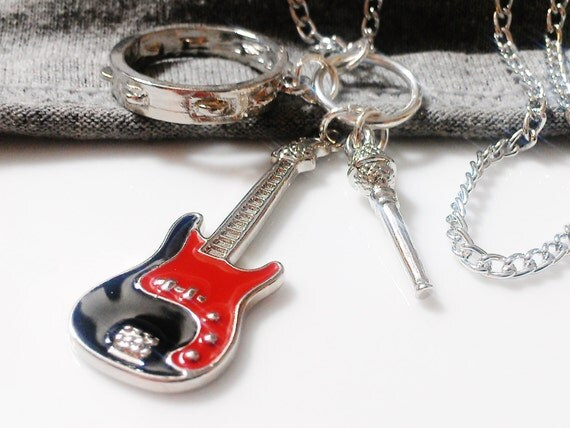 Items similar to guitar charm necklace music jewelry music for Baby jewelry near me