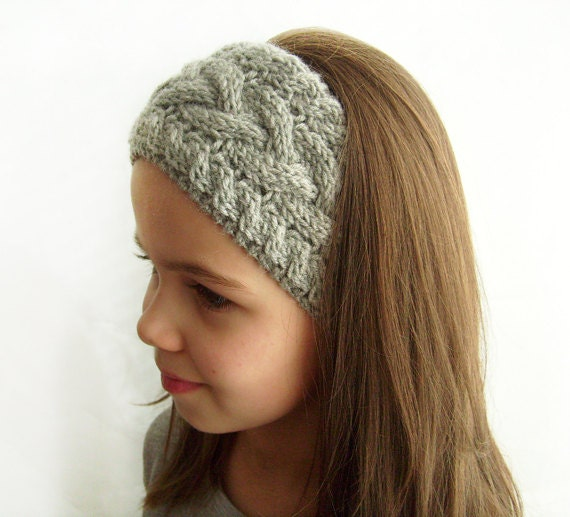 Knit Pattern Headband With Button Closure : Knit Headband Ear Warmer Grey Cable Knit Headband by ...