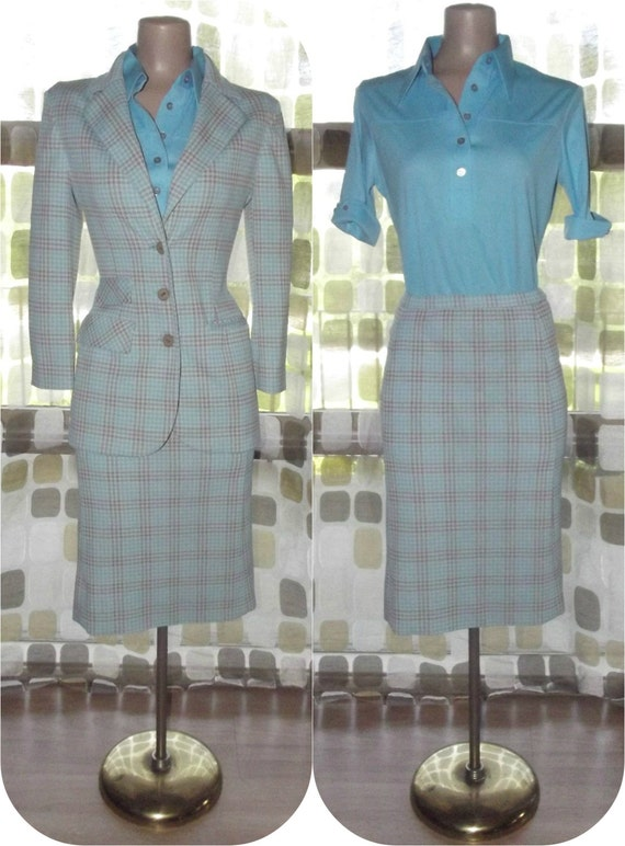 Vintage 70s 5 Piece Ladies Traveling Wardrobe Suit Set 8/M Blue & Tan Houndstooth Blouses, Jacket, Skirt, Pants Leisure Set