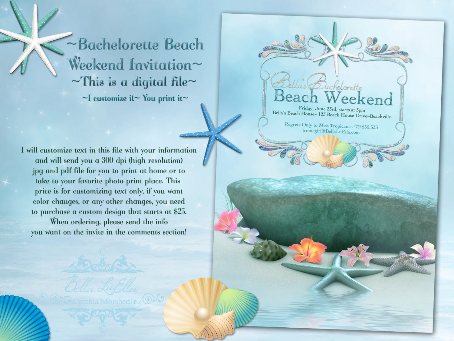 Beach Bachelorette Party Invitations Choice Image - Party ...