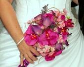 Brides bouquet hot pink orchid purple calla lily wedding bouquet