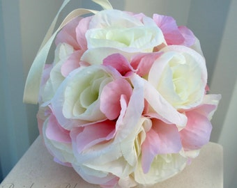 Wedding pomanders Blush pink cream Wedding flower ball Flower girl kissing ball Ceremony decorations