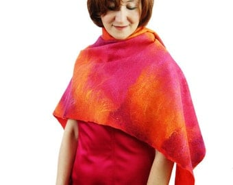 Felted Shawl Red Orange Shawl Pink Shawl Red Scarf Felted Red Wool Shawl