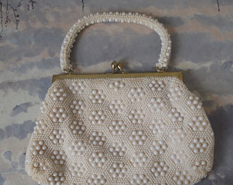 White Vintage Purse Honeycomb Bead Design 60's Handbag Bridal