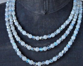 Czech Mad Men 1950's AB Crystal and White Frosted Beads 3-Strand Necklace Breakfast at Tiffany's