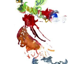 "Abstract Surreal Small Original Watercolor featuring Unique Fashion Illustration 6"" x 6"" - 79"