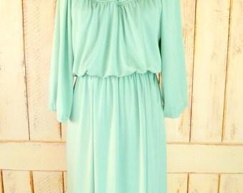 Vintage sea foam green flowy a line dress