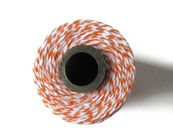 Orange Bakers Twine - Orange & White Striped Divine Twine - Crafting - Invitation Wrapping String - DIY Packaging - 240 Yard Full Spool Cord