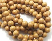 Nangka, Light, Natural Wood Beads, Round, Smooth, 12mm, Large, Full Strand, 36pcs - ID 1412-LT