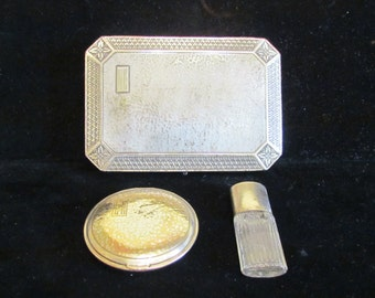 1920's Silver Vanity Box Compact Perfume Bottle Set Antique Box Mirror Powder Compact Art Deco Vanity Set Dresser Accessory