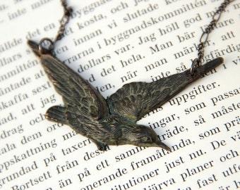 Crow Raven necklace, Victorian Gothic steampunk jewelry, verdigris black bird, edgar allan poe nevermore magickal wiccan dark fantasy anime