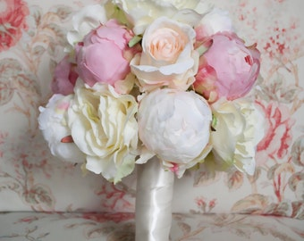 peony and rose wedding bouquet ivory and blush peony and rose wedding bouquet