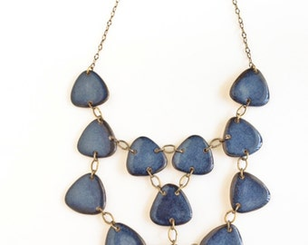 Porcelain jewelry Statement  necklace jewelry bib in beautiful satin blue glaze