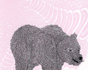 Woodland Bear Screenprint 8x10