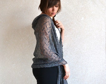 Gray Linen Scarf  Lace Shawl Bridesmaids Stole Wedding Scarf Boho Scarf Sheer Stole Linen Lace Scarf