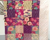 """Japanese blossom baby lap quilt  40""""x34"""" with minky at back"""