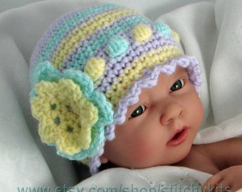 Crochet Pattern for Baby/Toddler Hat with flower trim in 4 sizes - INSTANT DOWNLOAD .pdf