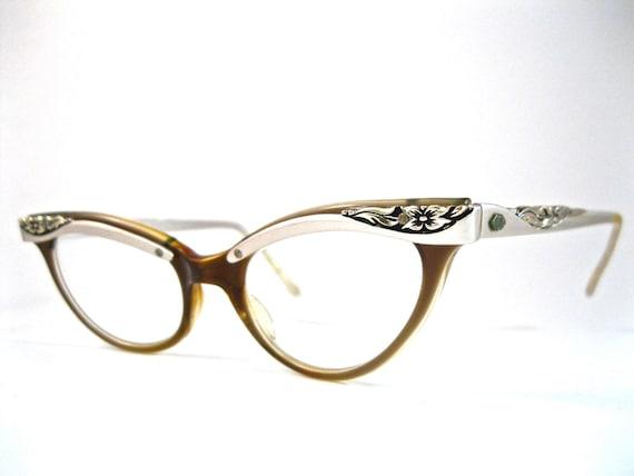 combo cat eye glasses plastic with metal aluminum browline