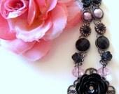Pink Gray & Black Rose Statement Necklace Smokey Rose