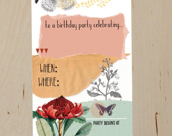 DIY Printable- Nature Collage Birthday Party invitation- digital file- Instant download