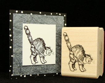 hissing cat rubber stamp