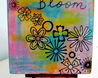 Bloom Flowers Print Mounted on Wood