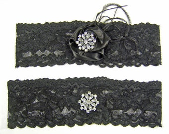 Black Stretch Lace Wedding Garter Set with Crystals and Black Ostrich Feathers