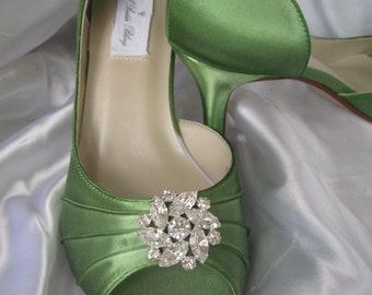 Wedding Shoes Apple Green Bridal Shoes with Sparkling Crystal Rhinestone Flower -100 Additional Colors To Pick From
