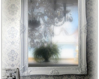 Solid Wood Antique Ornate White Mirror Shabby Chic